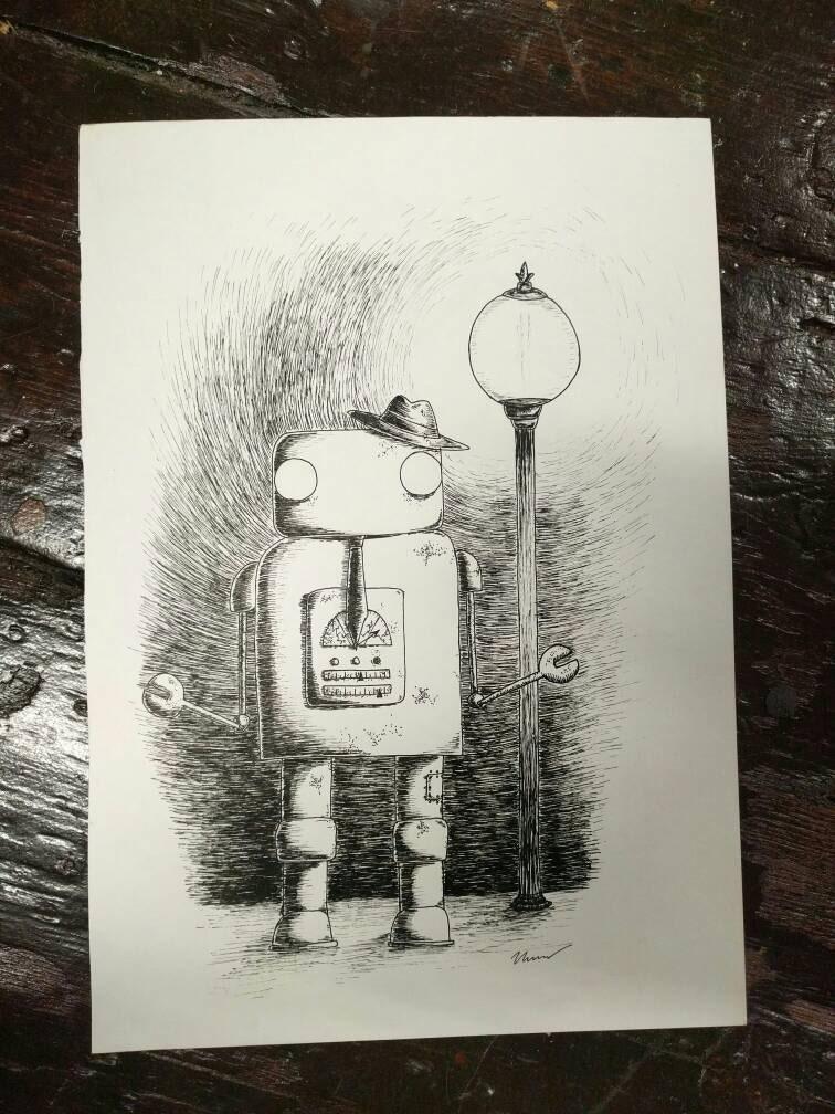 Hobo Robo - original pen and ink robot drawing by Jon Turner
