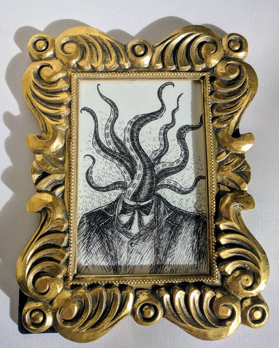 Tentacle Head- Original ink drawing in gold frame- Lovecraftian weird art