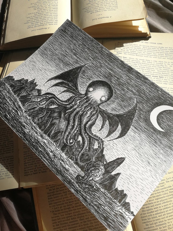 The Call of Cthulhu- Original ink drawing- HP Lovecraft inspired art