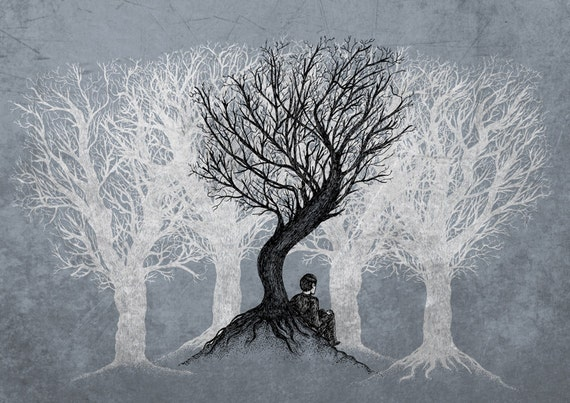 Beneath the Branches- melancholy art print