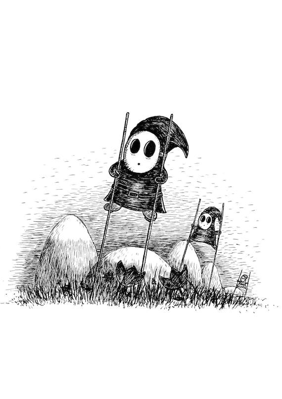 Shy Guys on Stilts- Yoshi's Island-inspired art print