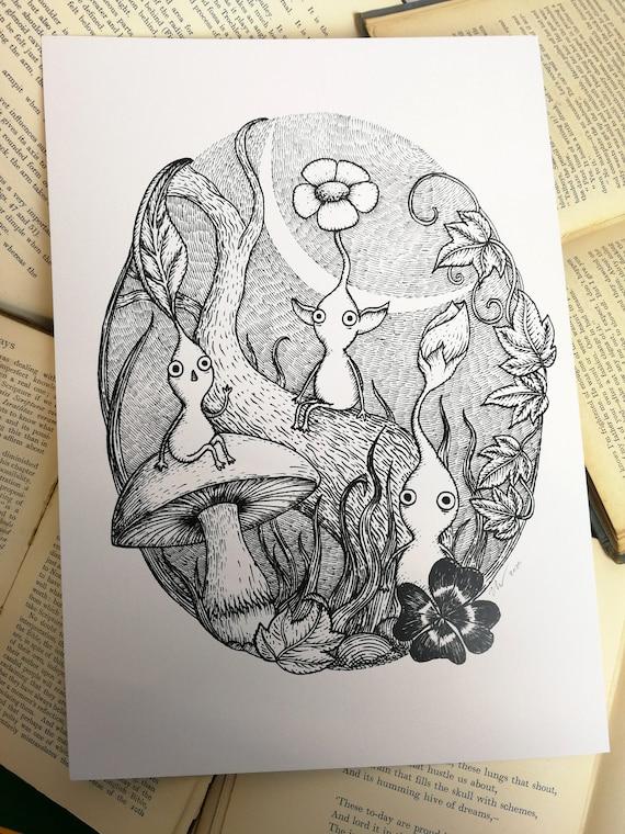 Moonlit Pikmin- videogame inspired art print