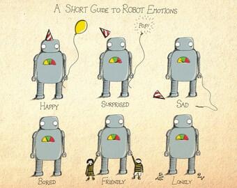 A Short Guide to Robot Emotions- A4 robot art print by Jon Turner- geeky robotics artwork- FREE WORLDWIDE SHIPPING