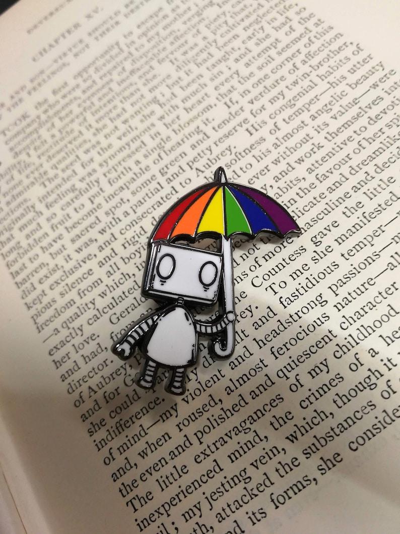 Rainbow Umbrella Robot Hard Enamel Pin Badge LGBT Pride image 1