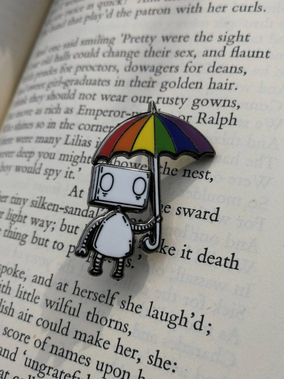 Rainbow Umbrella Robot Hard Enamel Pin Badge- LGBT Pride