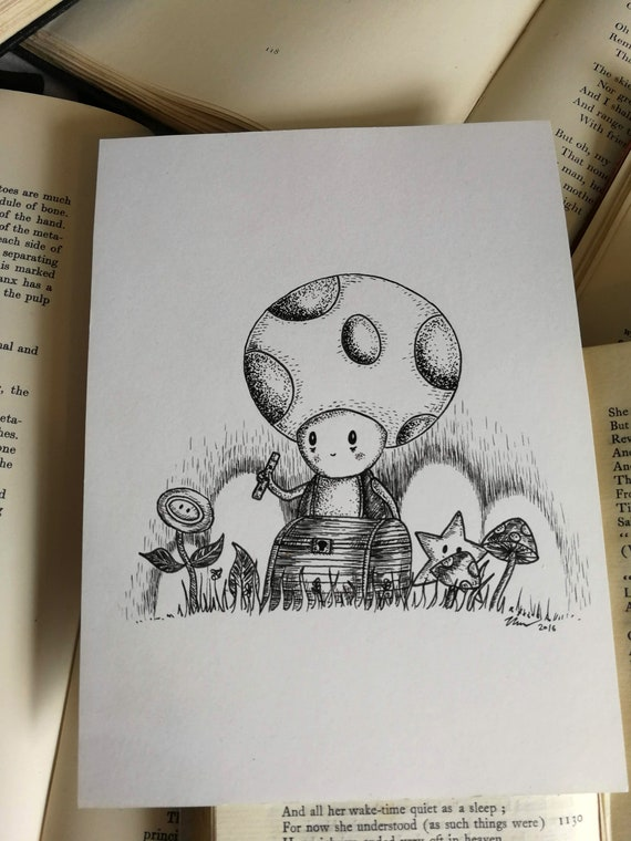 You Found My Shop of Strange and Wonderful Things- Original ink drawing- Mario Toad inspired art