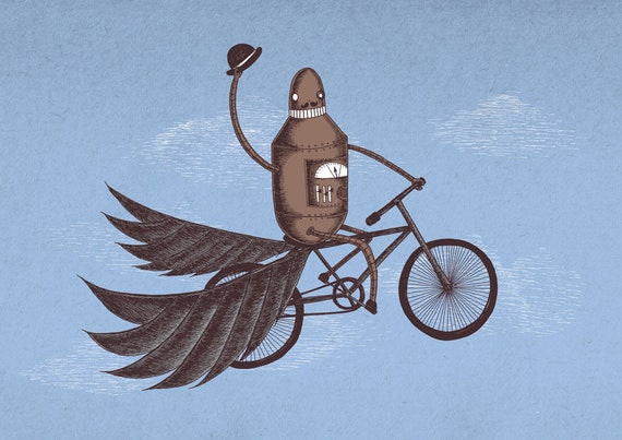 Tally-Ho- art print by Jon Turner- geeky robot on a bicycle artwork- A4 A3 8x10