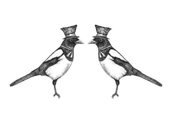 Two for Joy- magpies art print by Jon Turner- pen and ink Victoriana birds artwork