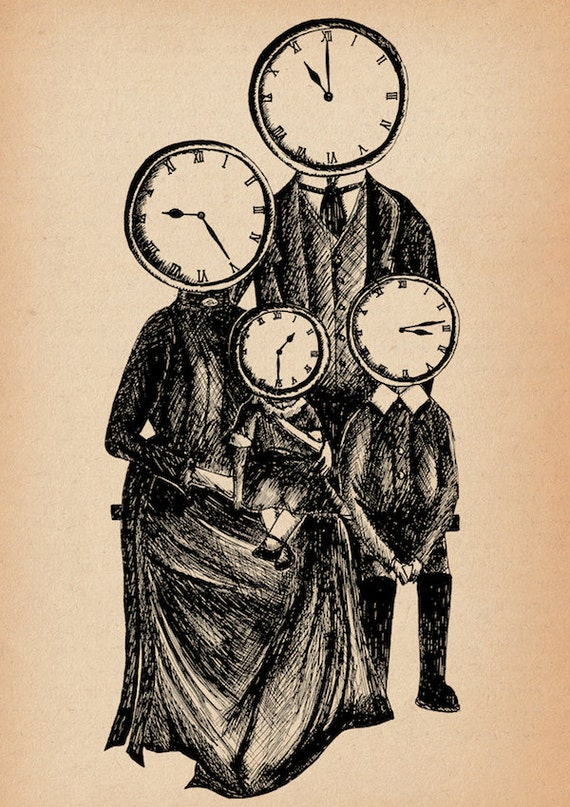 Family Time- gothic pen and ink art print- macabre Victoriana