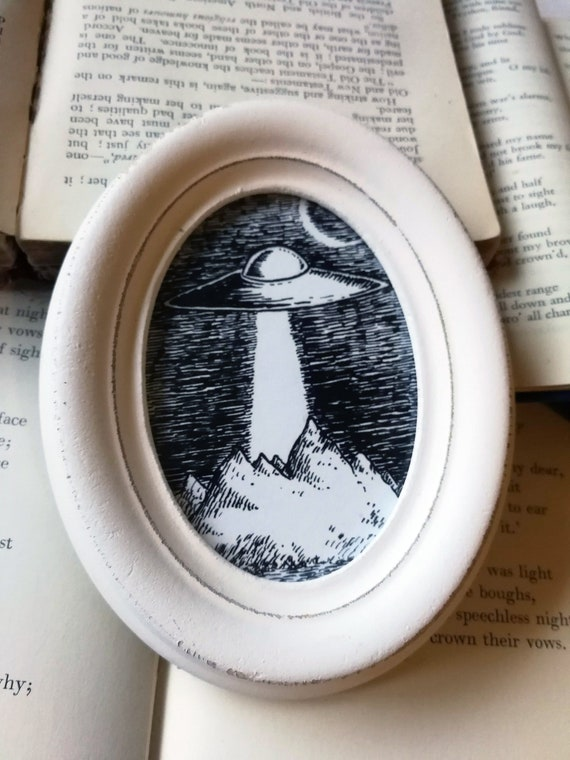 UFO- Original ink drawing in distressed oval frame