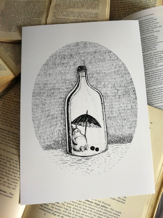 Neighbour in a Bottle- art print- Totoro Inspired