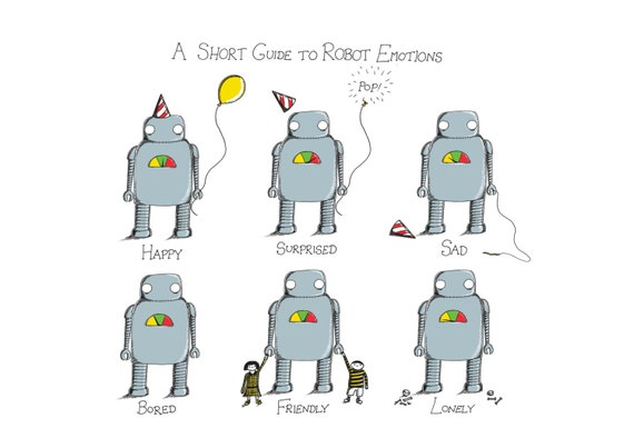A Short Guide to Robot Emotions- art print