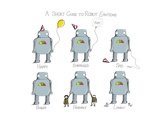 A Short Guide to Robot Emotions- robot art print by Jon Turner- geeky robotics artwork- A4 A3 8x10