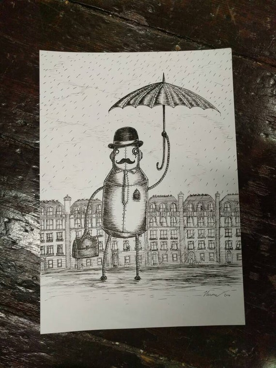 A Gentleman Always Carries An Umbrella - original pen and ink robot drawing