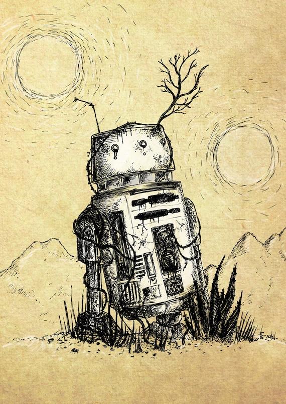 Bad Motivator- Star Wars-inspired robot art print by Jon Turner- droid R5D4