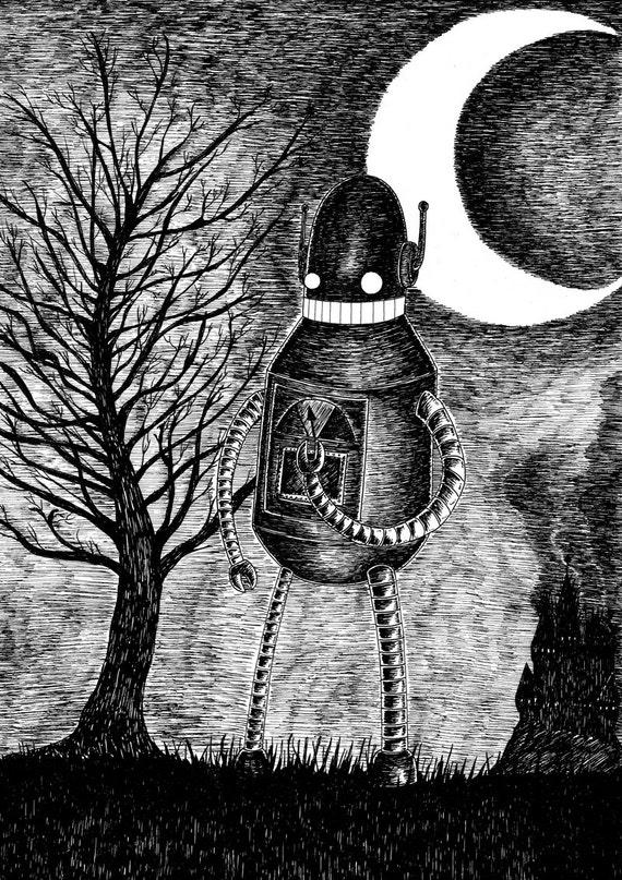 The Runaway- robot art print by Jon Turner- geeky artwork A4 A3 8x10