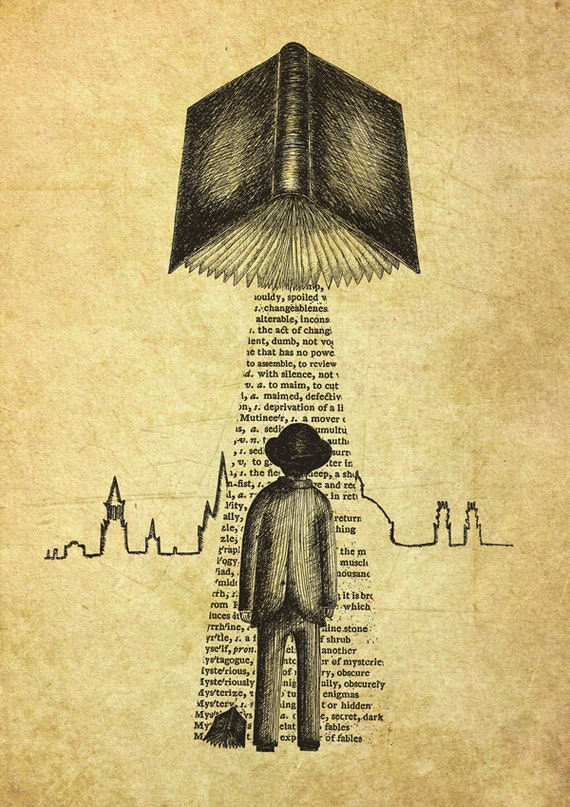 Take Me To Your Reader- art print by Jon Turner- surreal literary pen and ink artwork A4 A3 8x10