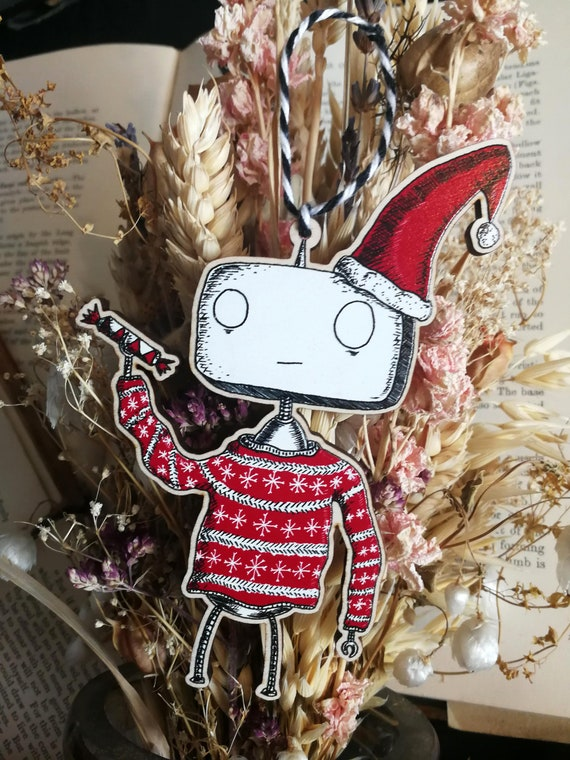 Festive Robot- Wooden Hanging Christmas Decoration