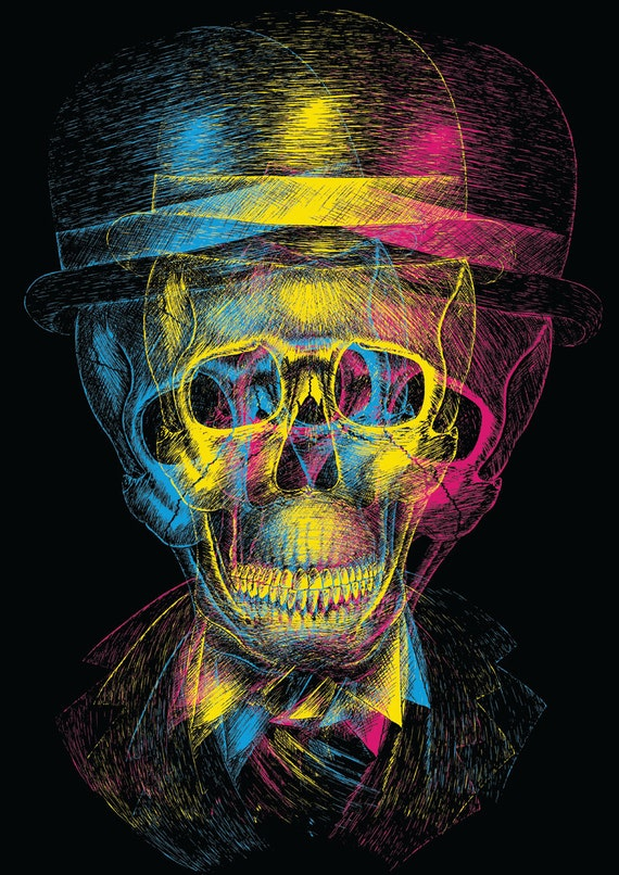 Worked to Death- art print by Jon Turner- surreal skulls CMYK artwork- A4 A3 8x10