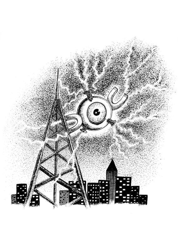 Magnemite- pokemon inspired art print by Jon Turner- cute geeky artwork- A4 A3 8x10