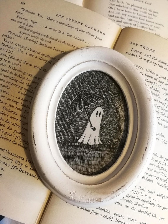 Ghost in the Rain- miniature original ink artwork in distressed oval frame
