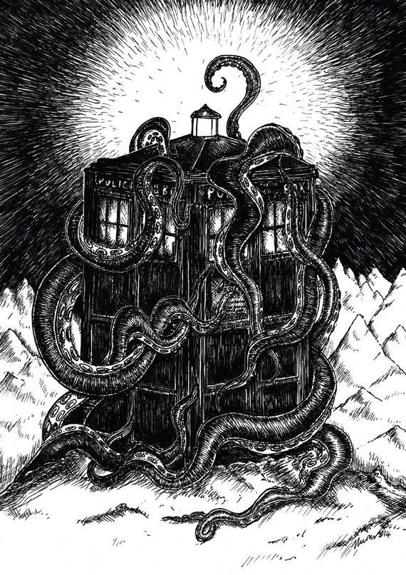 At the Mountains of Madness- Dr Who Tardis and Lovecraft Cthulhu inspired art print