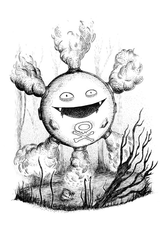 Koffing- pokemon inspired art print by Jon Turner- cute geeky artwork- A4 A3 8x10