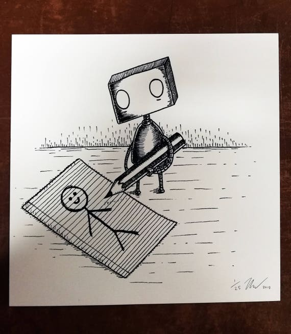 I'm A Real Boy- Limited Edition Robot Square Art Print