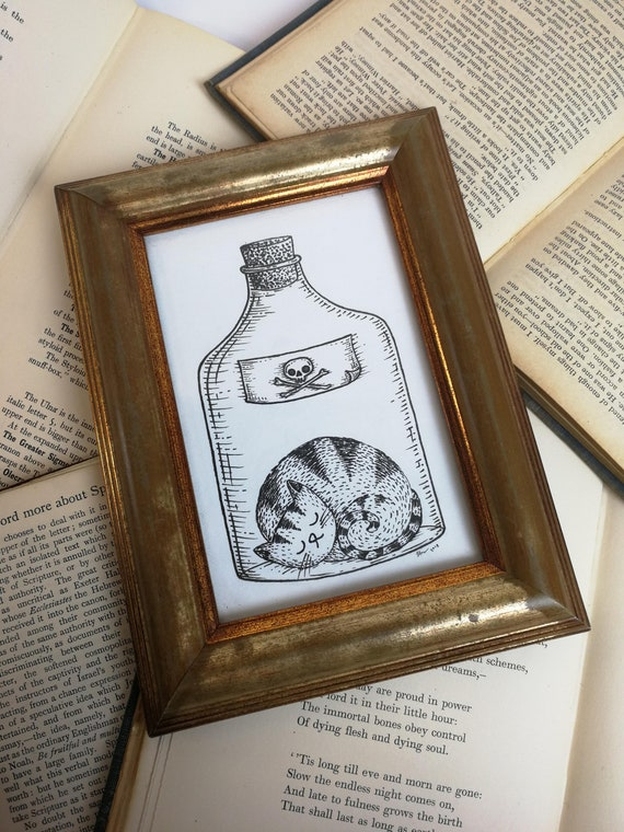 Poison Cat- Original ink drawing in vintage distressed gold frame