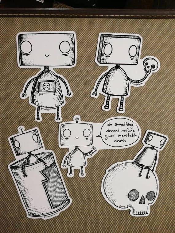 Stickerbots- set of 5 vinyl robot stickers