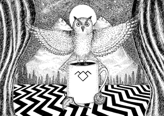 The Owls Are Not What They Seem- art print- Twin Peaks Inspired- A4 A3 8x10