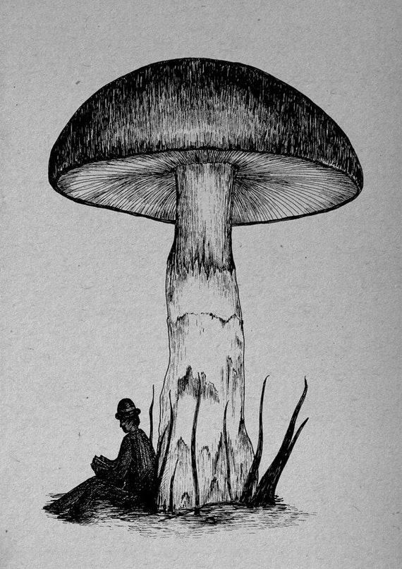 Under the Toadstool- art print by Jon Turner- surreal pen and ink artwork- A4 A3 8x10