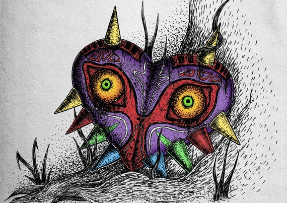 Majora's Mask- art print- Legend of Zelda Inspired- a4 a3 8x10