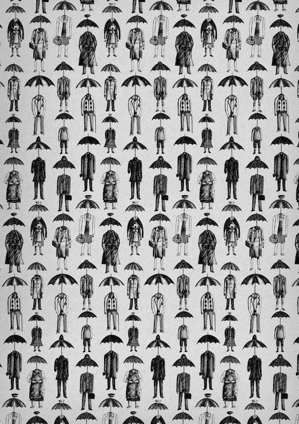 The English Temperament- Umbrellaheads art print by Jon Turner