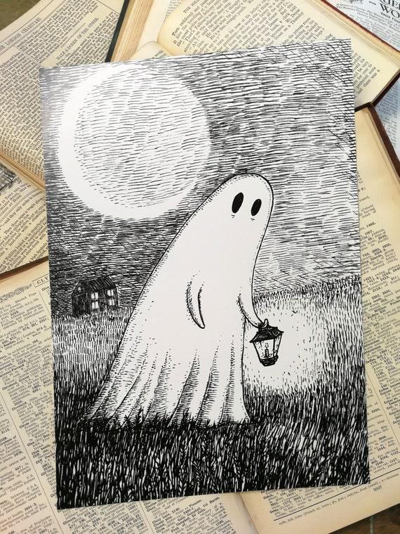 Wandering Ghost- spooky art print