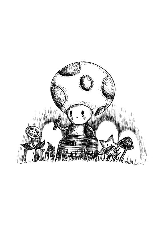 You Found My Shop of Strange and Wonderful Things- Toad Mario-inspired art print