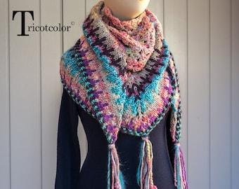 c5c3b5f9715c Châle femme tricotcolor laine filée wool laine jacquard knitting fil  turquoise rose accessories knit tricot crochet perles fil laine wool