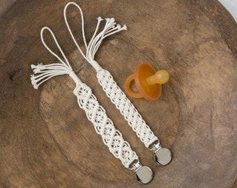 macrame cotton Binky, Paci, Binkie Clip holder