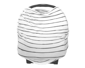 Carseat Cover / Nursing Cover. Stretchy, multi-use infant. neutral, boy, girl, monochrome stripe,  black, white