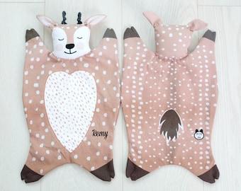 Organic Cotton lovey personalized baby blanket security blanket... toy plush stuffed deer animal boy girl