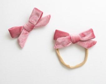 Velvet Baby Headband / Hair Bow Clip. pink rose - nylon toddler boho holiday - hand tied hair bow