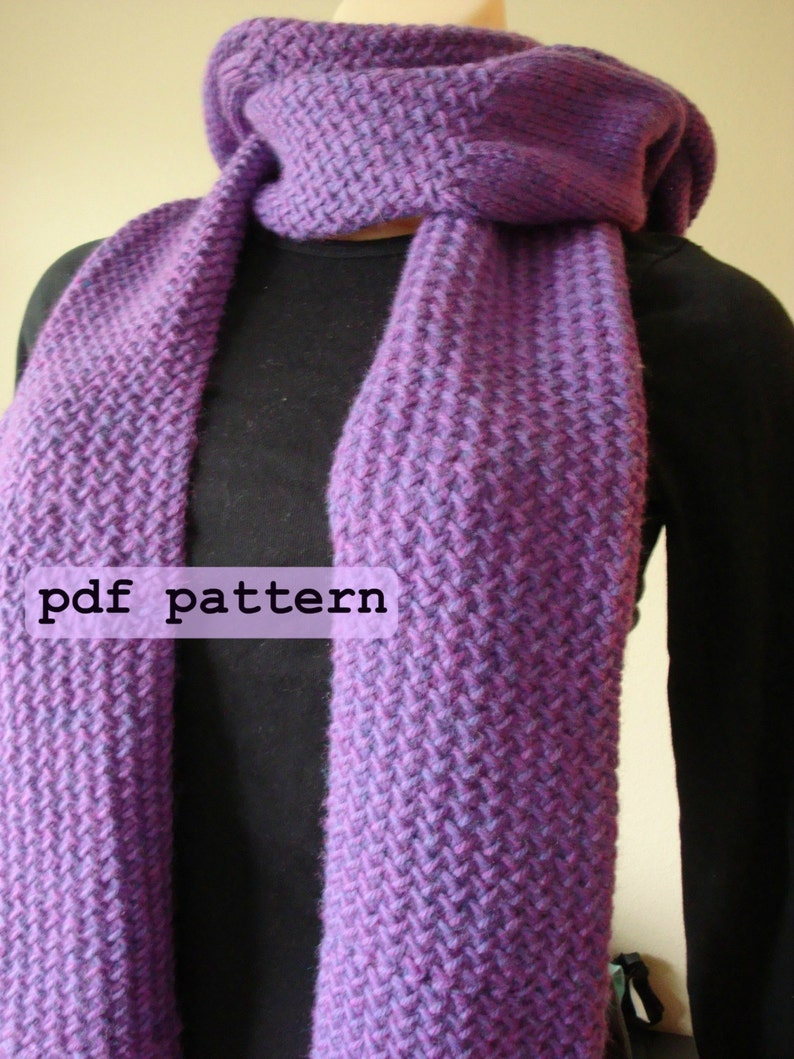 Hooded Scarf With Pockets Knitting Pattern Herringbone Stitch Etsy