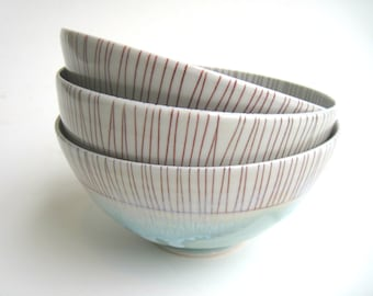 READY TO SHIP Blue and Red Stripey Porcelain Bowl