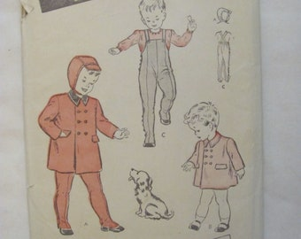 Vintage 1940s Butterick 3629 Child's Double Breasted Coat and Overalls Chest 19