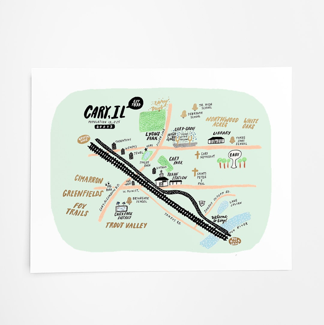 Cary Illinois Map Local Art Print Unique Wall Art Home Etsy