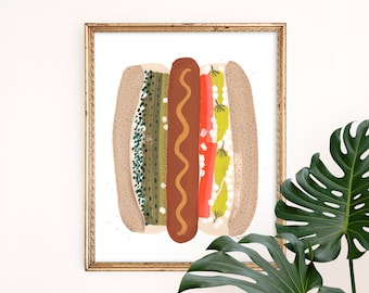 Chicago Style Hot Dog Art Print | Foodie Wall Hanging | Windy City Home Decor | Children's Nursery Wall Art | Gouache Illustration | Giclee