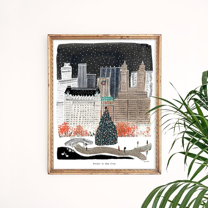 Winter in New York City Art Print  Central Park Art  New image 0