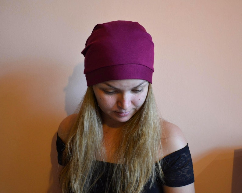 2ad2e0714ef Many Colors Jersey PLUM SLOUCHY BEANIE Hat Womens Beanies