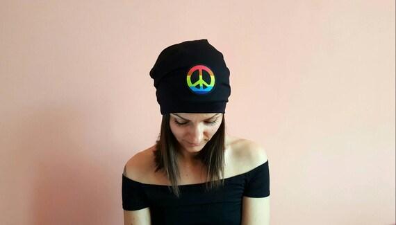 PEACE SLOUCHY BEANIE Hat Festival outfits 2018 Black Slouchy  aadc049e0b1
