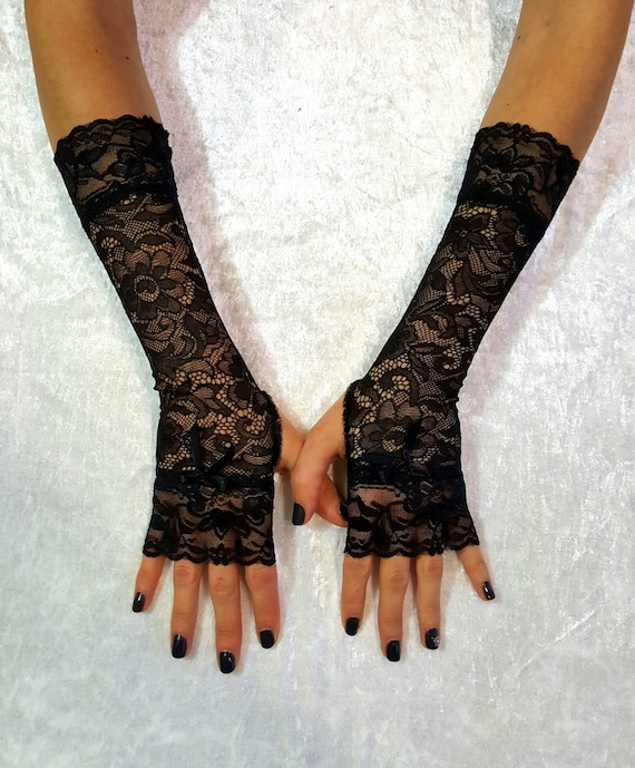 LONG LACE MITTENS Goth Lace Fingerless Gloves Gothic Black  57e12e080fe3